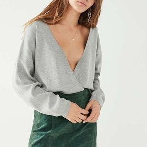 Urban Outfitters Grey Surplice Sweater | UO Top